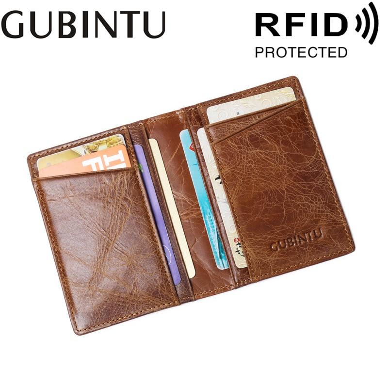 Gubintu   Men's and Women's Leather Verticle Card Case Anti-Magnetic RFID Anti-Theft Card Holder Card Holder ID Package gubintu a g8042 1