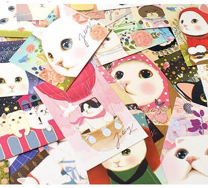 AliExpress - 5 Pcs/lot cartoonish cat postcards Cat friends party invitation card New Year gift