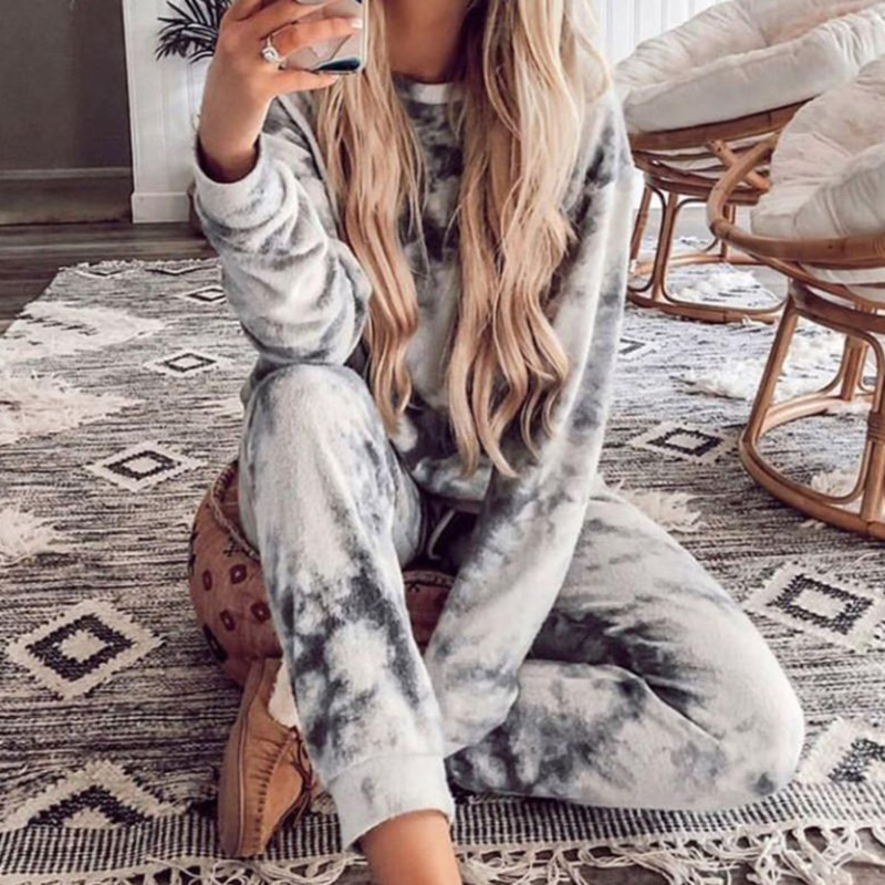 Women Casual Tie Dye Tracksuit Pijama Home Two Piece Set Lounge Wear Sweatshirts Suit Loose Outfits Ropa Mujer Autumn Clothes