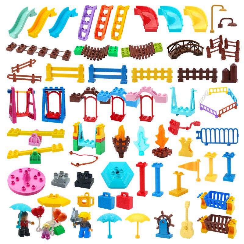 Большие строительные блоки, совместимые с горкой качели, детская игровая площадка, серия больших кирпичей, Детская развивающая креативная ...