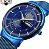 2021 חדש כחול קוורץ שעון ליגע Mens שעונים למעלה מותג יוקרה שעונים לגברים פשוט כל פלדה עמיד למים שעון יד reloj Hombre