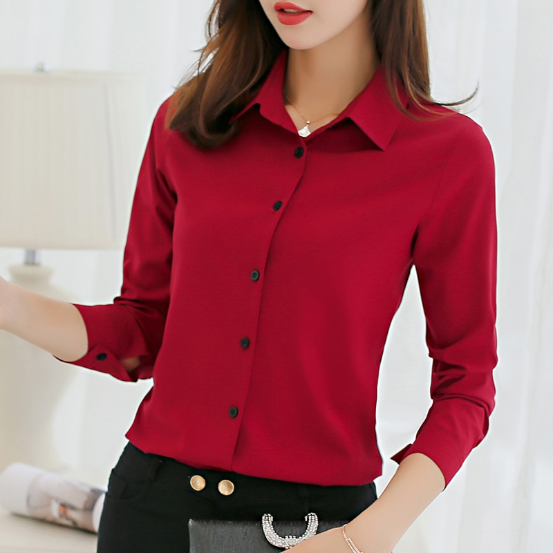 White Blouse Women Chiffon Office Career Shirts Tops Fashion Casual Long Sleeve Blouses Femme Blusa