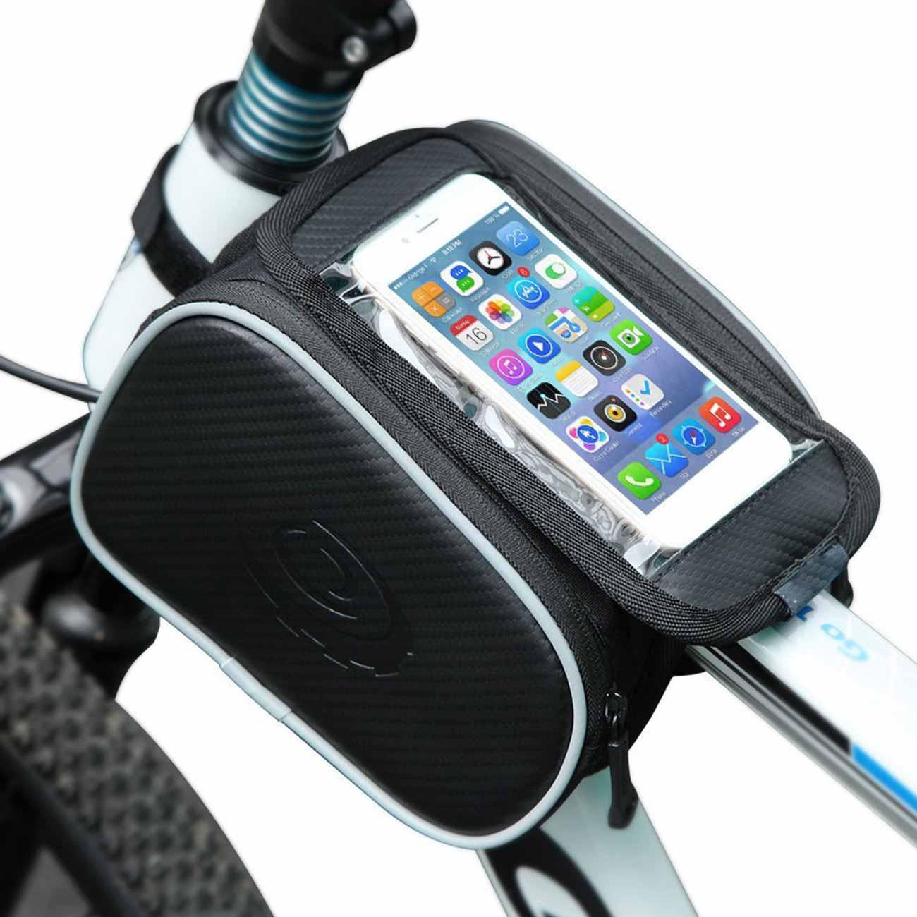 Bolsa de cuadro frontal para bicicleta, doble bolsa para teléfono móvil, pantalla...