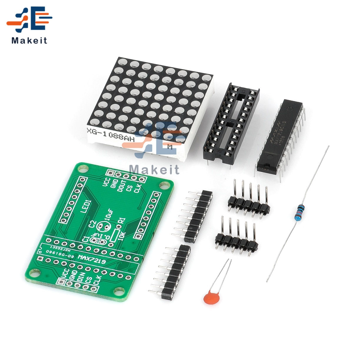 max7219 led microcontroller 4 in 1 display dot matrix module 5v operating voltage for arduino 8x8 dot matrix common MAX7219 7219 8X8 Red LED Dot Matrix Module MCU Control Controller Display Drive Driver Board For Arduino Common Cathode DIY Kit