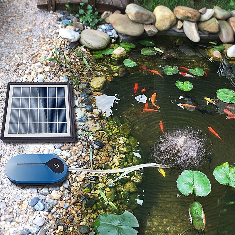 Bomba de aire bomba de oxígeno para acuario tanque de aire fresco Solar bomba de aireación Placa de oxígeno hidropónica acuario pecera
