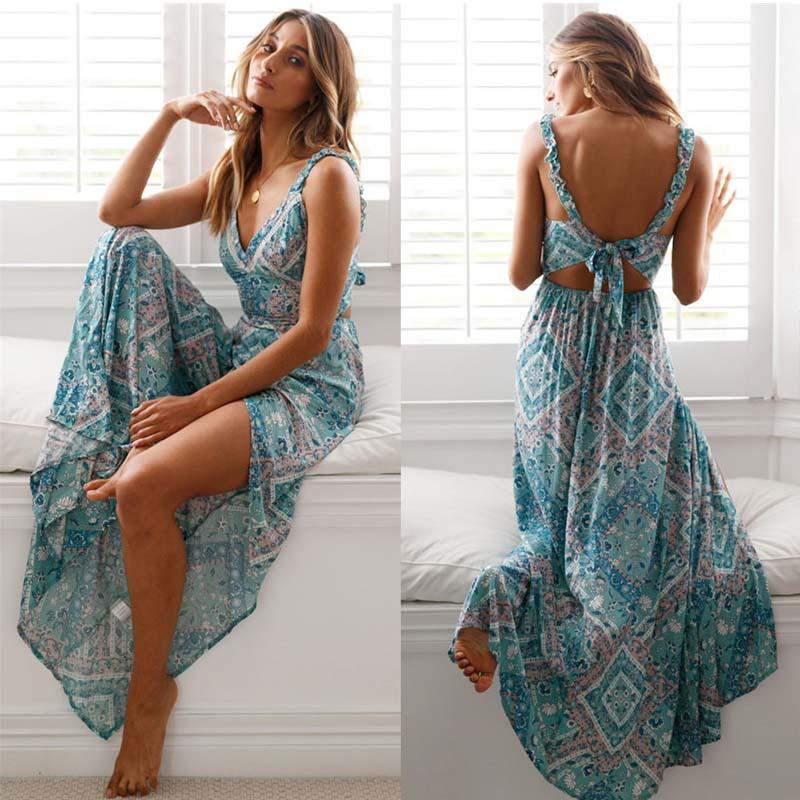 Boho Dress Sexy High Slit V-Neck Sling Backless Summer Long Dress Floral Print Beach Dress Back Bow Design Women Long Dress