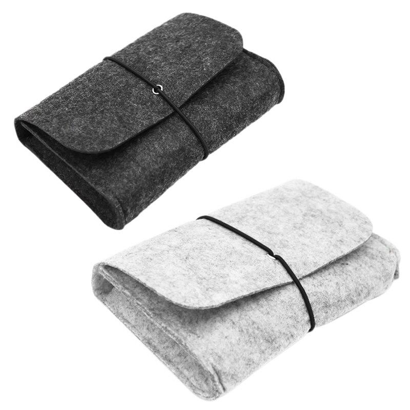 Practical Wool Fiber Power Bank Storage Bag Mini Sofe Felt Pouch For Data Cable Mouse Travel Organiz