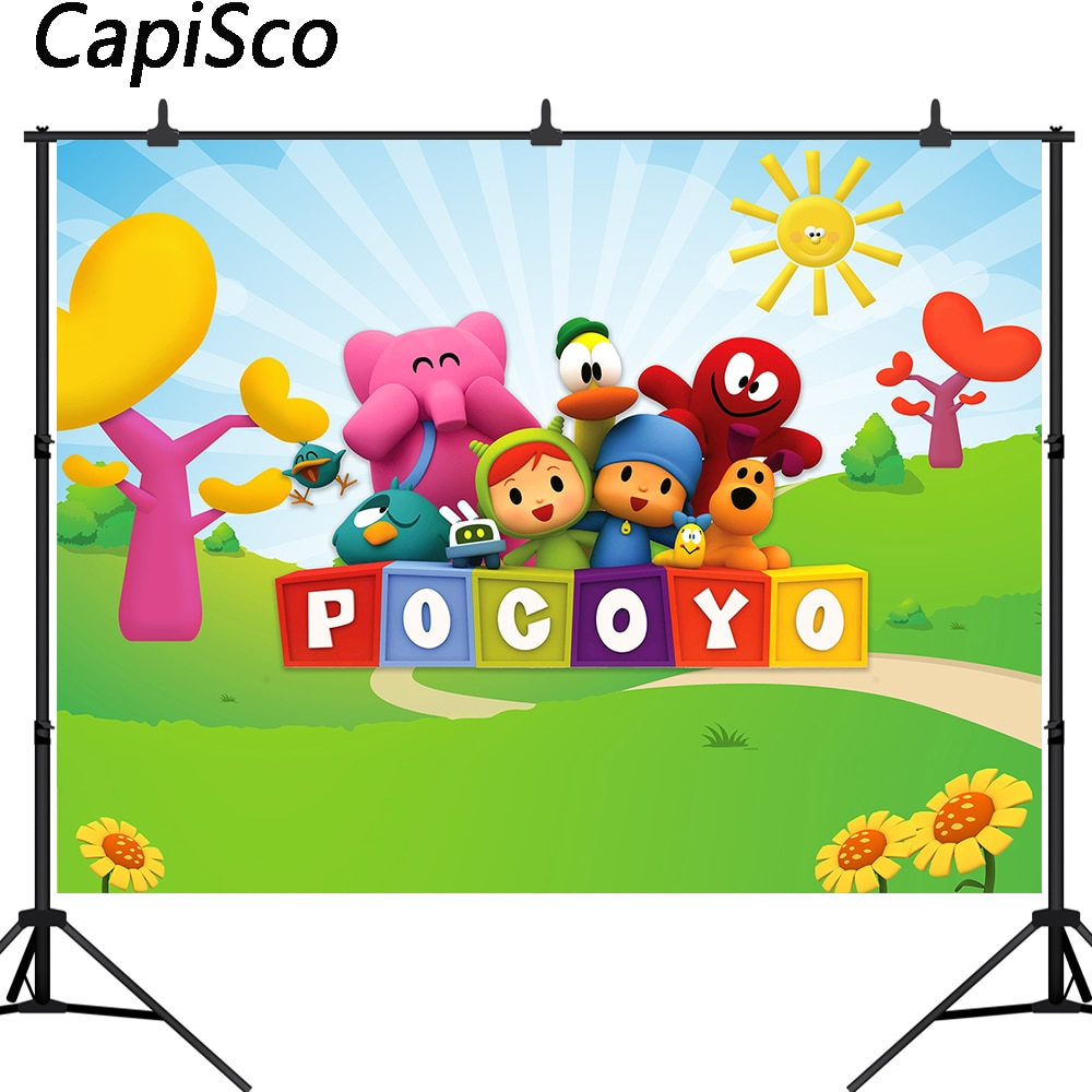Capisco Pocoyo Theme Photography Backdrop Boy Birthday Party Decor Supplies Baby Shower Newborn Photo Background Studio Props