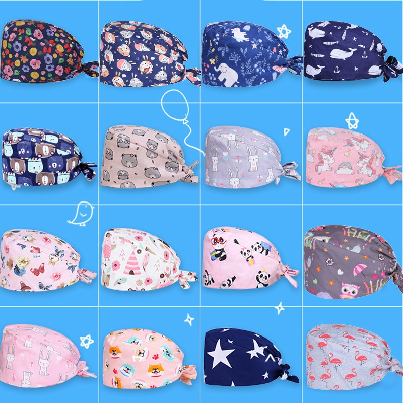 Clearance Pattern Scrub Cap Printing Working Hat 100% Cotton Women Men Beautician Dust Proof Cooking Chef Caps