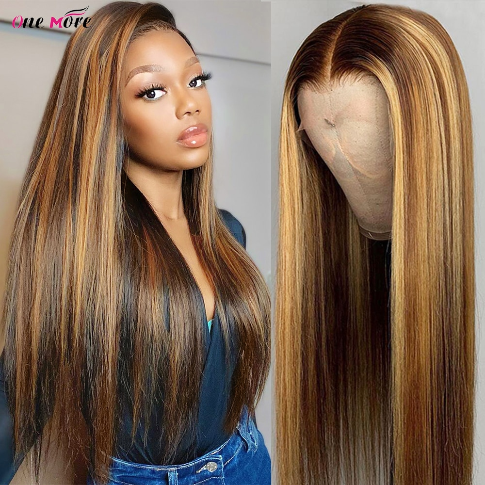 AliExpress - 4 27 Highlight Wig Ombre Bone Straight Lace Front Wig 13×6 13×4 Brown Colored Lace Front Human Hair Wigs 4×4 Closure Wig 180%