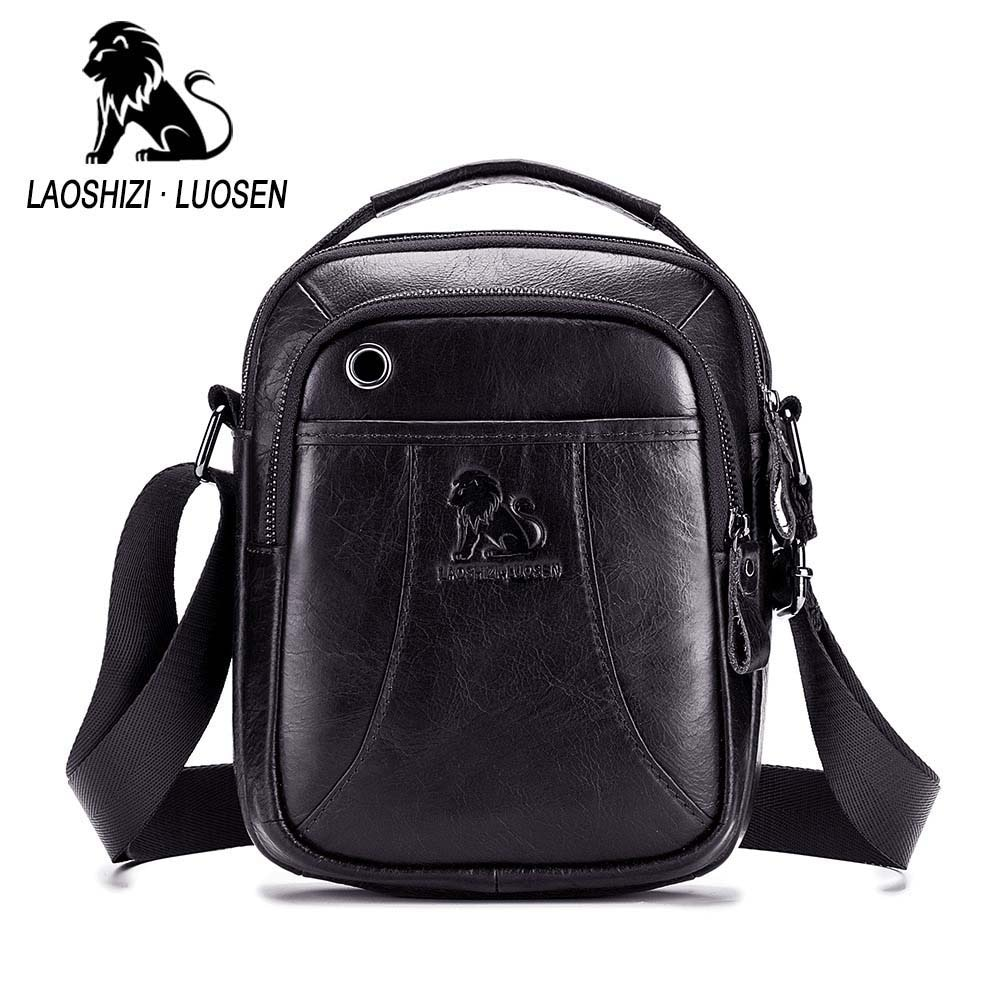 Marca LAOSHIZI, bolso de mano de cuero genuino con asa superior, bolso de hombro tipo bandolera para hombre, bolso de mensajero de piel de vaca para hombre, ranura para auriculares