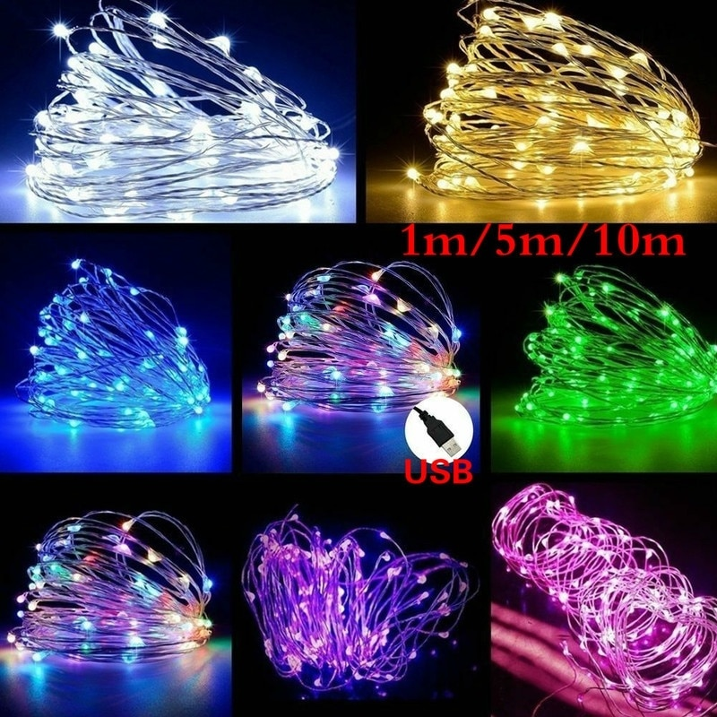 1M 5M 10M LED String Fairy Lights USB Copper Wire Wedding Festival Christmas Party Decoration Light Waterproof Outdoor Lighting zdm 10m usb copper wire waterproof led string light 100 leds for festival christmas party decoration dc5v