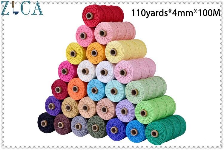 4mm X 110yards X100M Bunte Schnur Seil Thema Verdrehte Macrame String DIY Tasche Wohnkultur Textil Verpackung Dekorative baumwolle Schnur