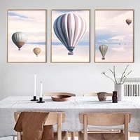 Nordique maison deco helium ballon a Air chaud toile peinture toile affiche mur Art paysage impression peinture decoration photo