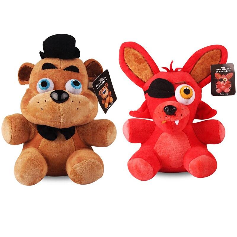 2 unids/lote 25cm cinco noches en Freddys FNAF 4 Freddy oso de peluche Bonnie Foxy juguetes de peluche suave juguetes de peluche muñeca para niños regalos