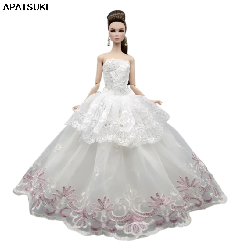 White Lace Wedding Dress For Barbie Doll Outfits Clothes Princess Party Gown For 1/6 BJD Dollhouse Accessories Toys