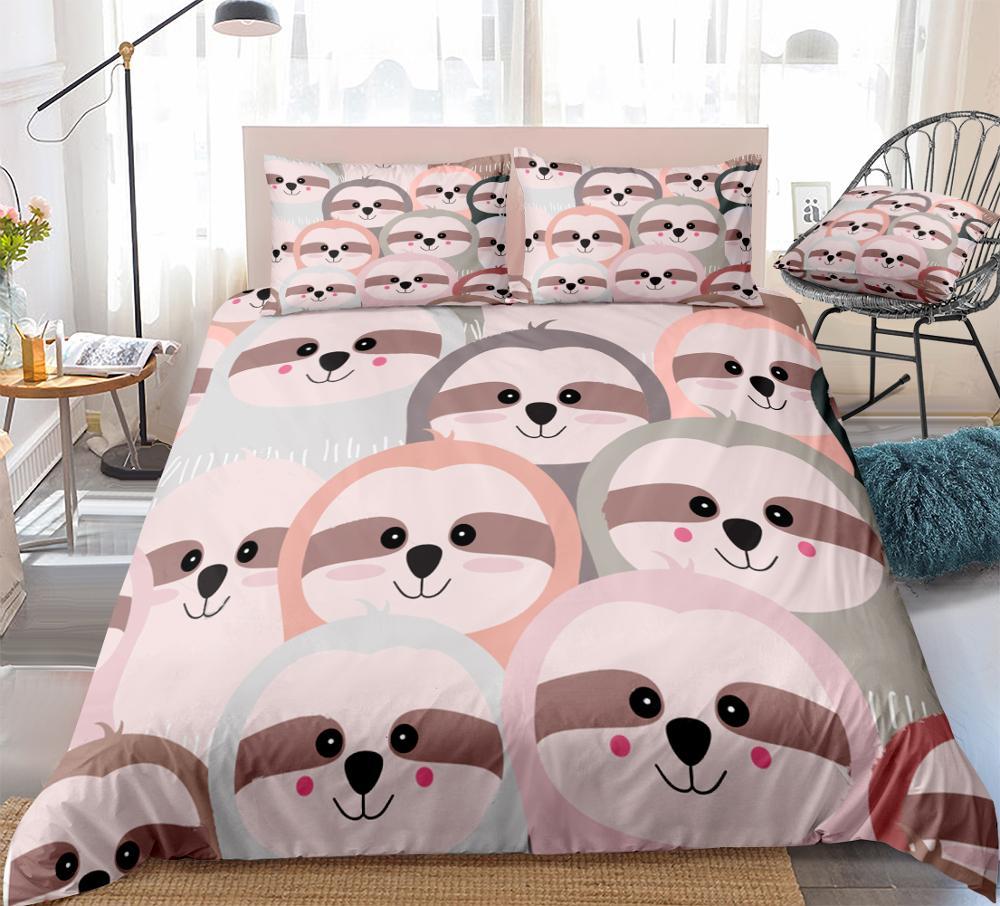 Sloth dos desenhos animados conjunto de capa edredão rosa cinza animal cama crianças meninos meninas bonito preguiça colcha capa rainha conjunto colorido dropship