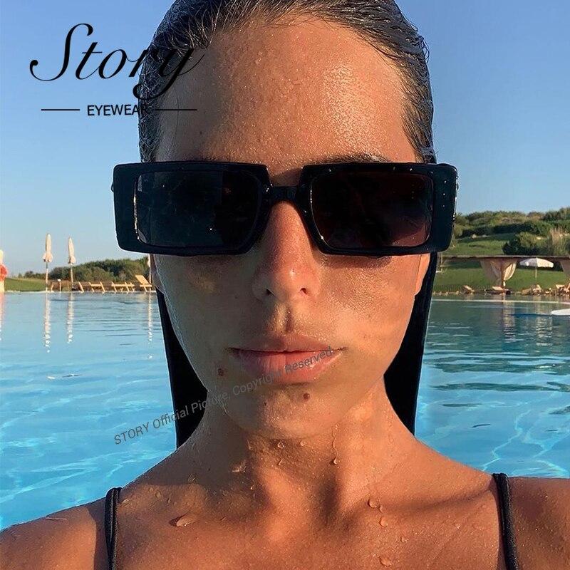 Story moda negro rectángulo gafas de sol mujeres hombres 2020 marca diseñador leopardo Vintage gafas de sol cuadradas sombras para las mujeres 77134H