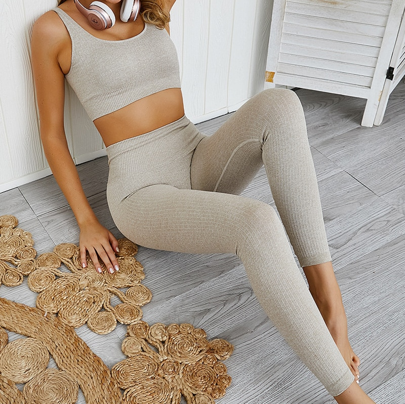 LANTECH 2 Pcs Sports Suits Set Women Yoga Sets Gym Fitness Athletic Pants Sportswear Leggings Padded Push-up Seamless Sports Bra