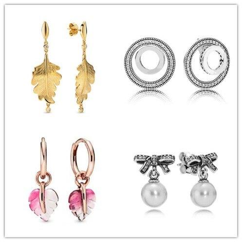 Pendientes de plata de ley 925 deslumbrantes y brillantes, pendientes de hoja de roble para mujer, regalo de boda, joyería Pandora
