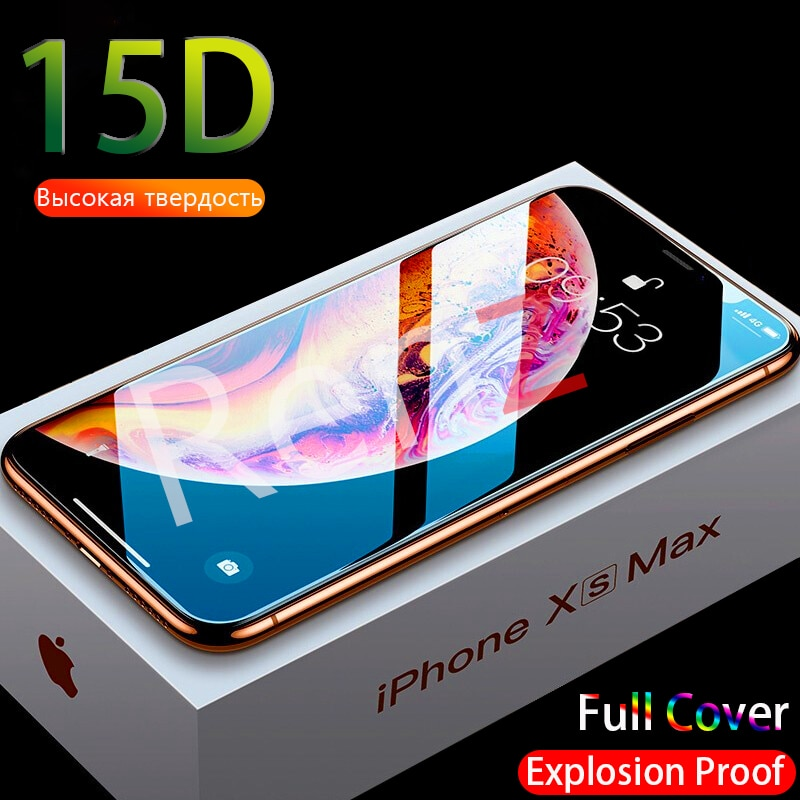 15D Full Cover Tempered Glass For iPhone 12 Pro Max Mini XR X XS Screen Protector For iPhone 11 Pro