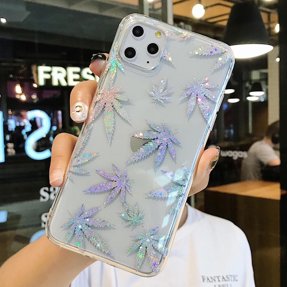 Glitter brilhante folha caso de telefone para iphone x xr xs capa para iphone se 2020 se 2 se2 7 8 6 s plus 11 pro max transparente coque