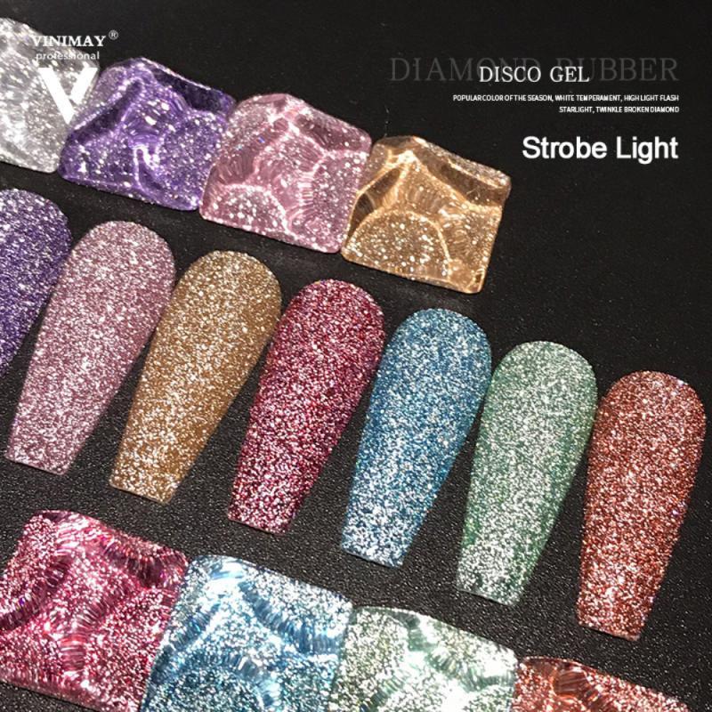 9 cor diamante cola arte do prego cristal duradouro unha polonês cola decoração glitter gel reflexivo brilhante platina prego gel tslm1