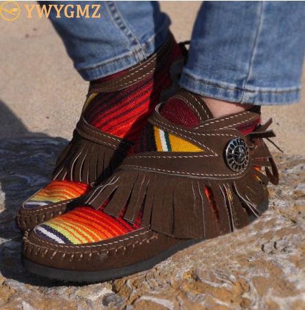 Women Tassel Stripe Ankle Boots 2020 Women's Sewing Warm Woman Flats Female Shoe Ladies Casual Hook Loops Footwear Plus Size 43