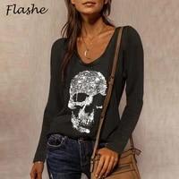 elegant sequins diamond skull print t shirt streetwear casual long sleeve women shirt pullover tops o neck loose tee plus size