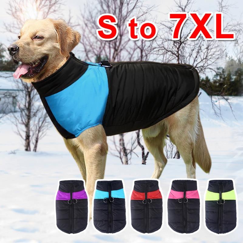 Одежда для больших собак Зимний теплый жилет для животных куртка водонепроницаемая одежда для собак пальто для больших собак бульдог, золотистый ретривер одежда для лабрадоров