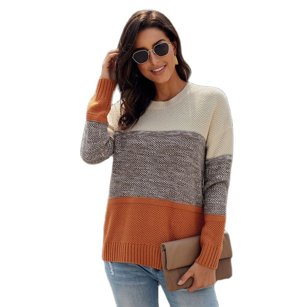 Autumn and Winter new sweater women's loose three-color contrast color stitching design round neck long sleeve spring Ladies