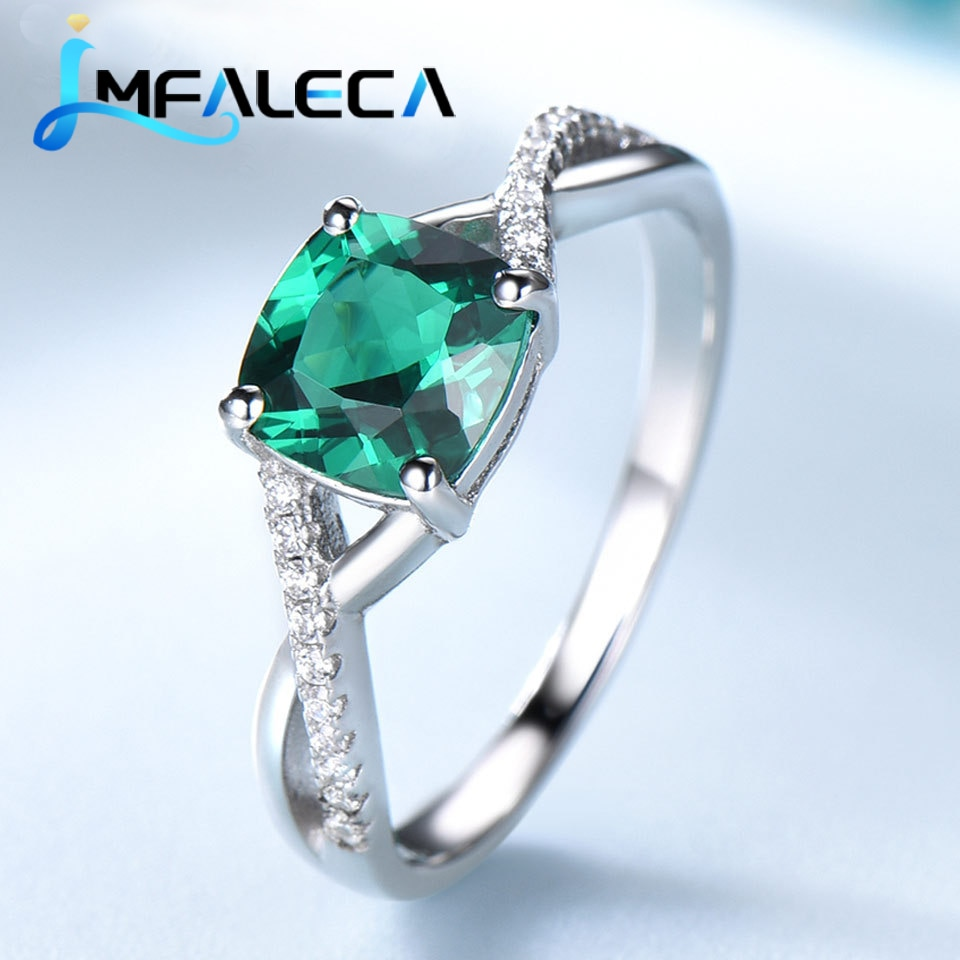 AliExpress - LMFALECA Square Emerald Rings for Women Real 925 Sterling Silver Ring Gemstone Birthstone Wedding Engagement Fine Jewelry Gift