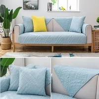 thickened solid color sofa cushion modern living room l shaped modular seat cover jacquard non slip machine washable sofa towels