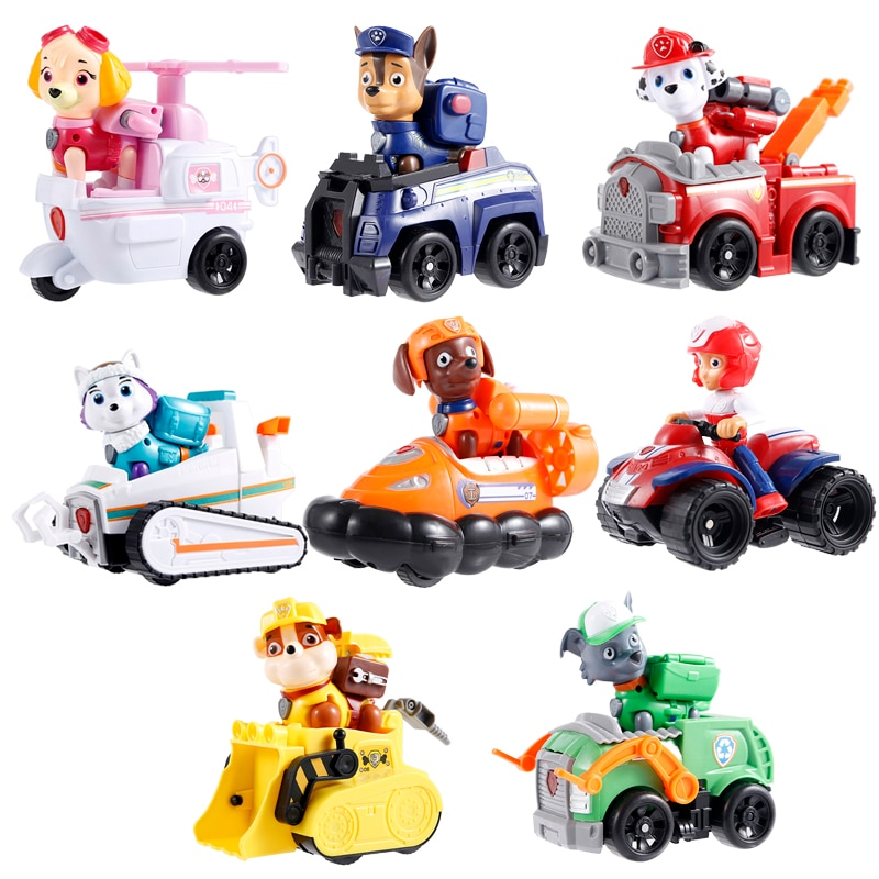Genuine Paw Patrol Rescue Vehicle Toy Set Ryder Chase Skye Rocky Anime Action Figure Marshall Model Toy Child Gift