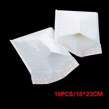 10pc Wit Papier Enveloppen Bruiloft Uitnodiging Wenskaarten Papier Gift bag Parel Film Bubble Envelop Mailing Zakken 18*23