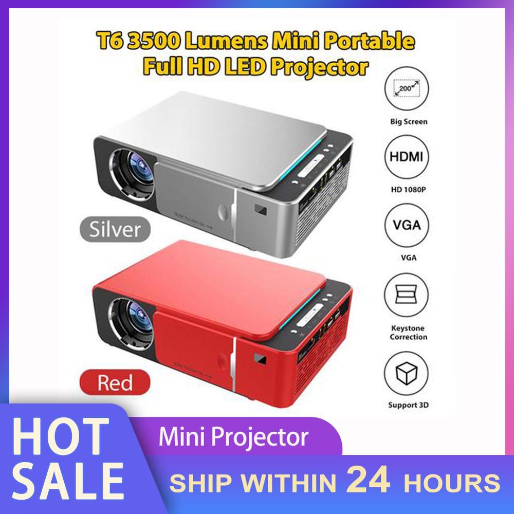 Proyector LED portátil T6, dispositivo de proyección de vídeo HD de 3500...