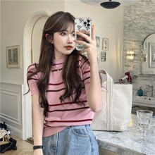 Chic Korean Clothes Style Slim-Fit Contrast Colors Striped Short Sleeve Sweater Crew Neck T-shirt Su