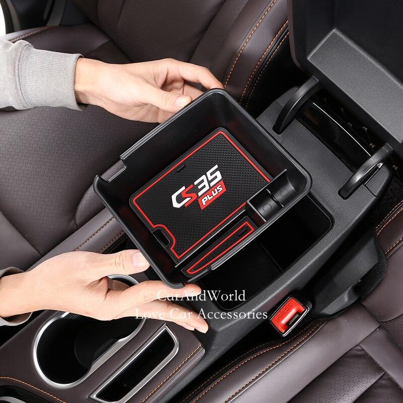 For Changan CS35 Plus 2018 2019 2020 Car Interior Armrest Storage Box Non-Slip Mat Plastic Molding Garnish Car Accessories