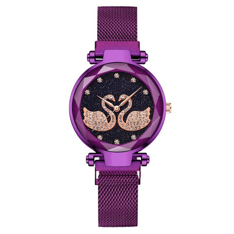 Women Luxury One Pair Of Swans Quartz Watches Magnetic Starry Sky Wrist Watch Stainless Steel Strap Ladies Crystal Wristwatch