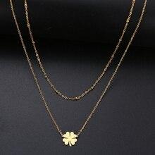 DOTIFI pour les femmes mode en forme de Double collier chanceux trèfle géométrique Figure acier inoxydable or argent couleur cadeau