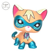 Lps chat animalerie jouets Original debout Rare cheveux courts chat Super chaton avec masque bleu pour enfants cadeaux livraison gratuite