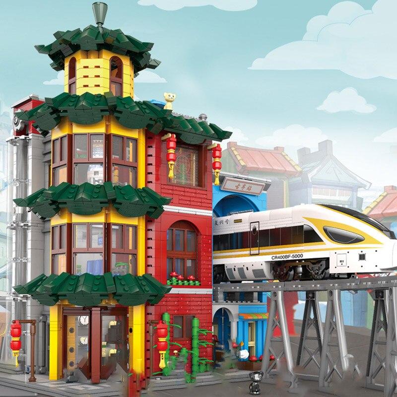 New MOC Urban Village Guting Building Blocks Creative Chinese City Street View Architecture Model Bricks Toys for Kids Gifts lele 30008 2262pcs creator city street detective s office model building kit blocks bricks toys for kids gift 10246