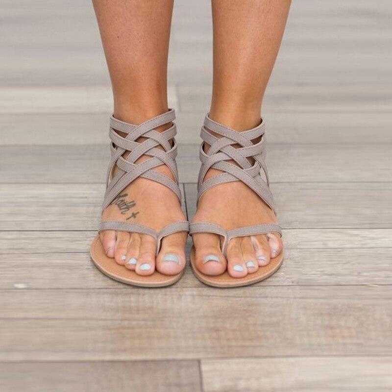 Женская обувь, женская обувь, женские сандалии с перекрестными ремешками в стиле ретро, Женская однотонная обувь с вырезами, легкая обувь