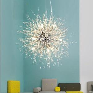 Modern Pendant Lamp Crystal Hanging Light Chrome for Dinning Living Room Suspension Lighting