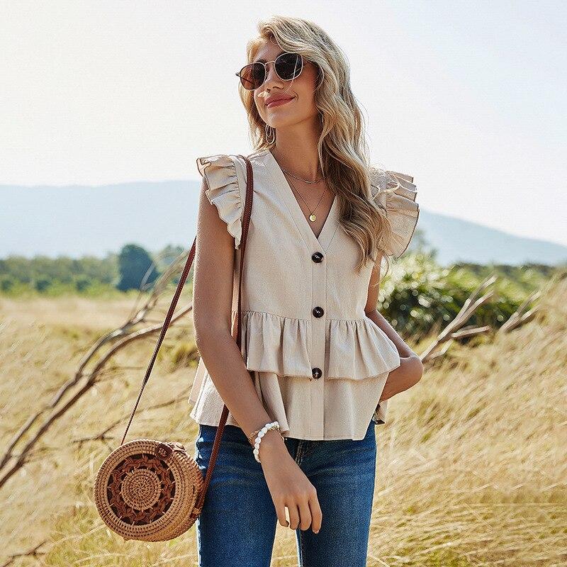 GOPLUS 2021 Women Spring Shirt Ruffles Solid Slim Single Breasted V-Neck Sleeveless Blouse Tops Elegant