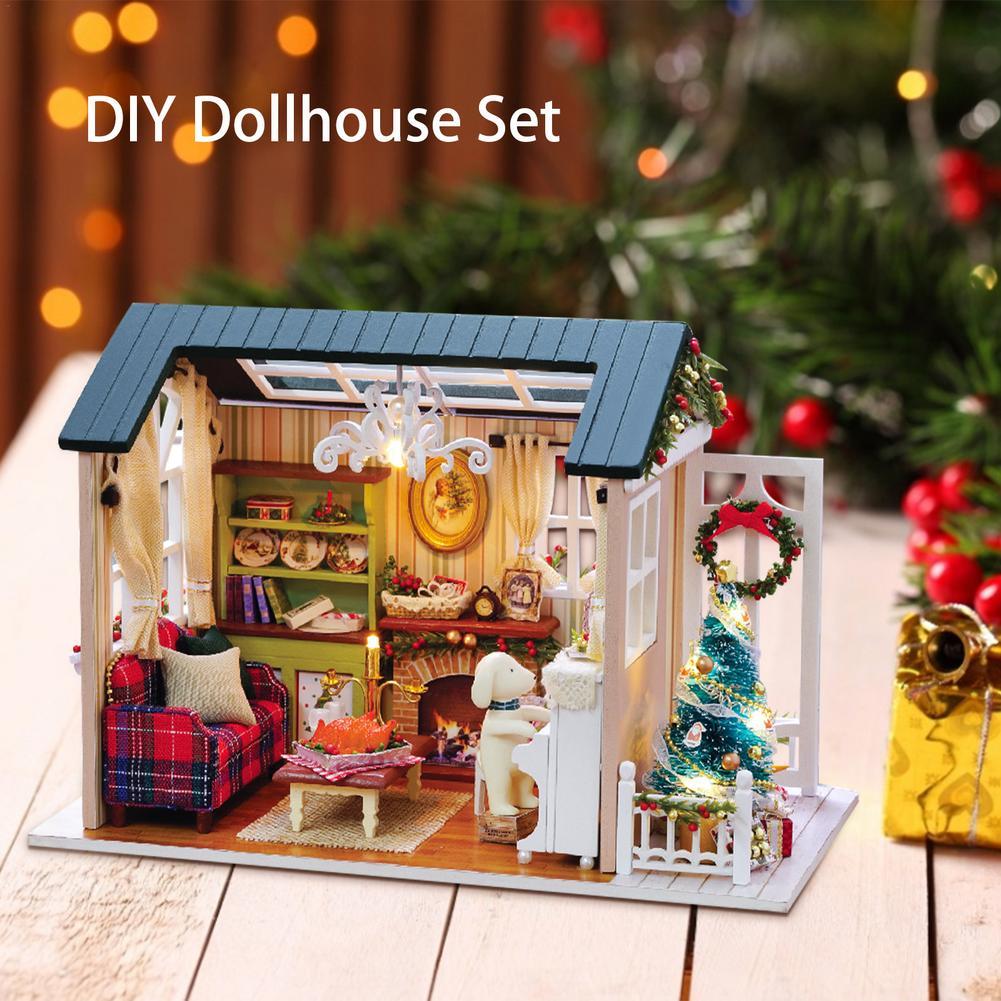 Набор для кукольного домика «сделай сам», деревянный Миниатюрный Кукольный домик с комплектом мебели, кукольный мини-домик с подсветкой ме...