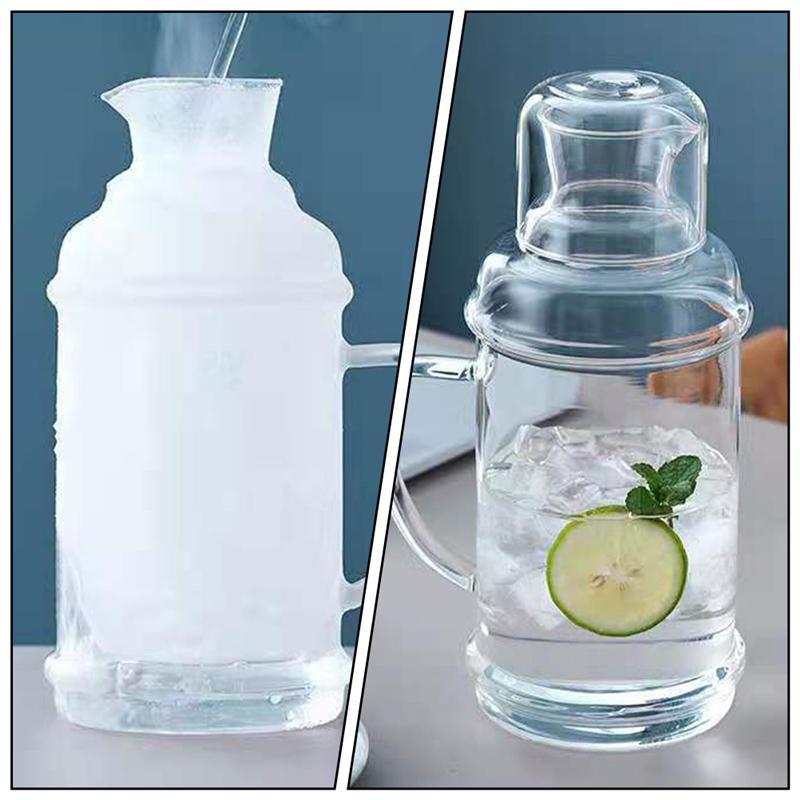 1 جهاز كمبيوتر شفاف زجاج غلاية الماء البارد زجاجة مقاومة للحرارة غلاية إبريق زجاجي للماء للمنزل