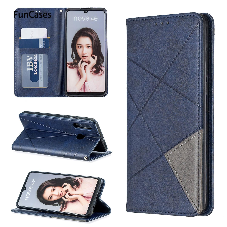 Nova 4E geometría casos de silicona cubre para Huawei Nova 4E lindo de la sFor tapa Huawei coque P30 Lite de cuero de la PU caso de cartera