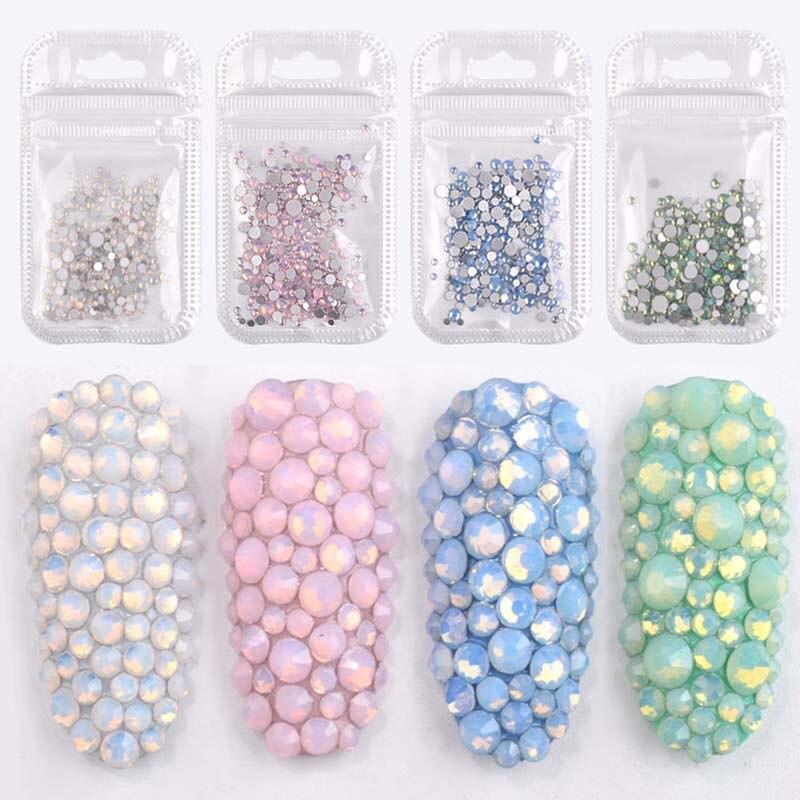 1 paquete de puntas 3D para decoración de uñas, brillantina de cristal, decoración de uñas 3D, Color blanco AB, taladro de diamante Acrílico