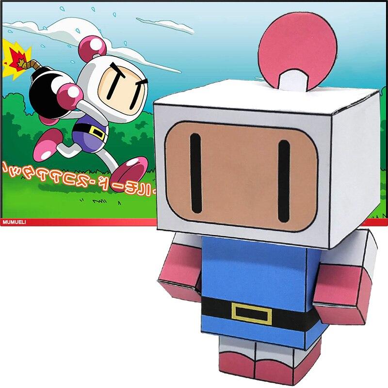 Não-cola bomberman mini dobrável corte bonito modelo de papel 3d papercraft japão anime figura diy cubee crianças adulto artesanato brinquedos CS-019